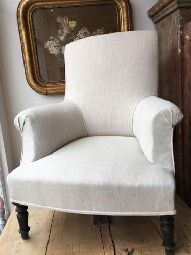 Antique French Salon Chair re-upholstered in raw linen