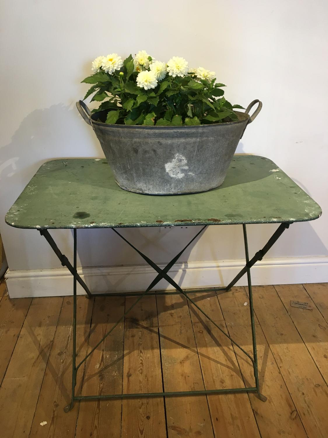 French garden table with original green paint
