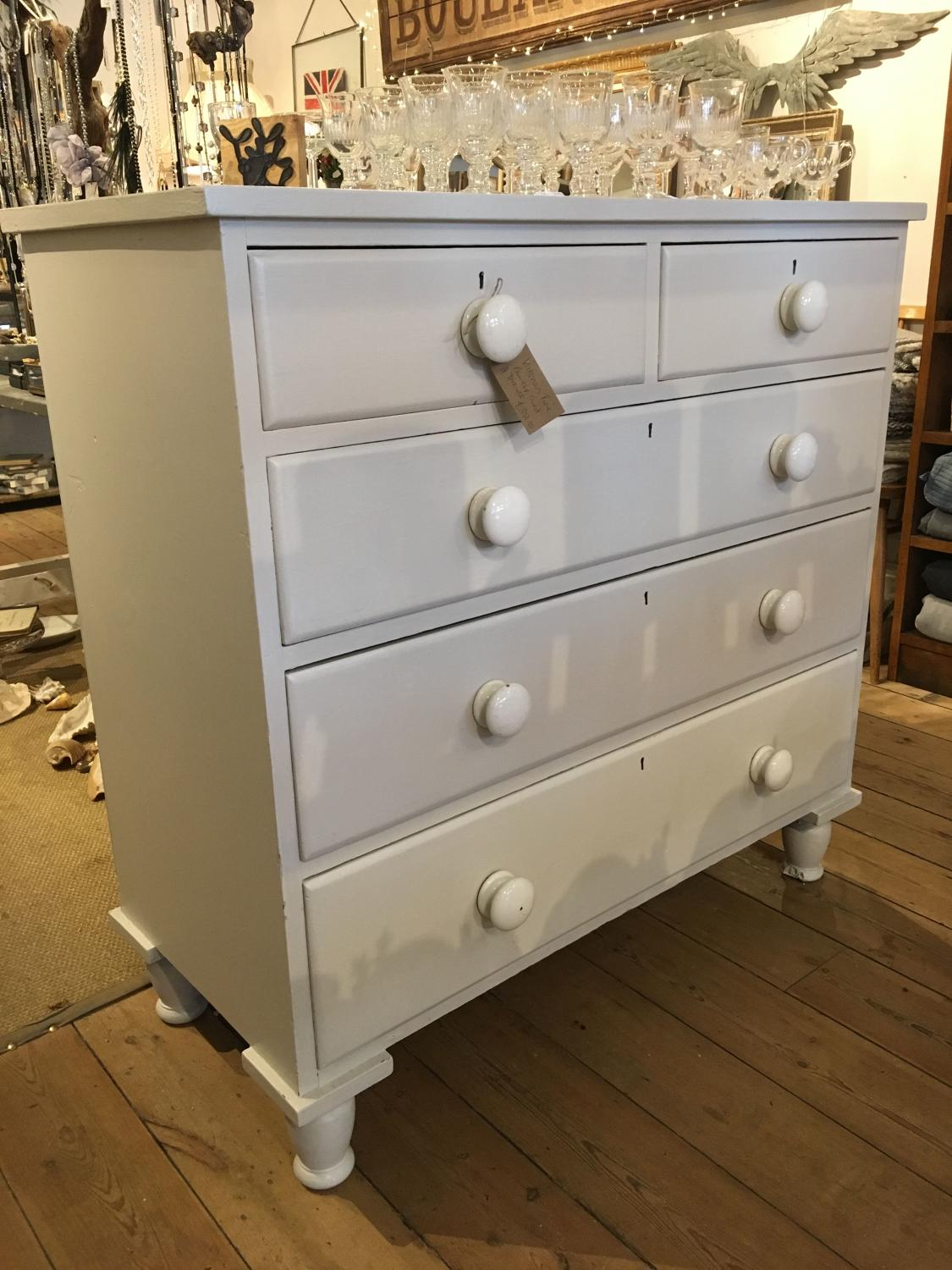Large painted Victorian chest of drawers