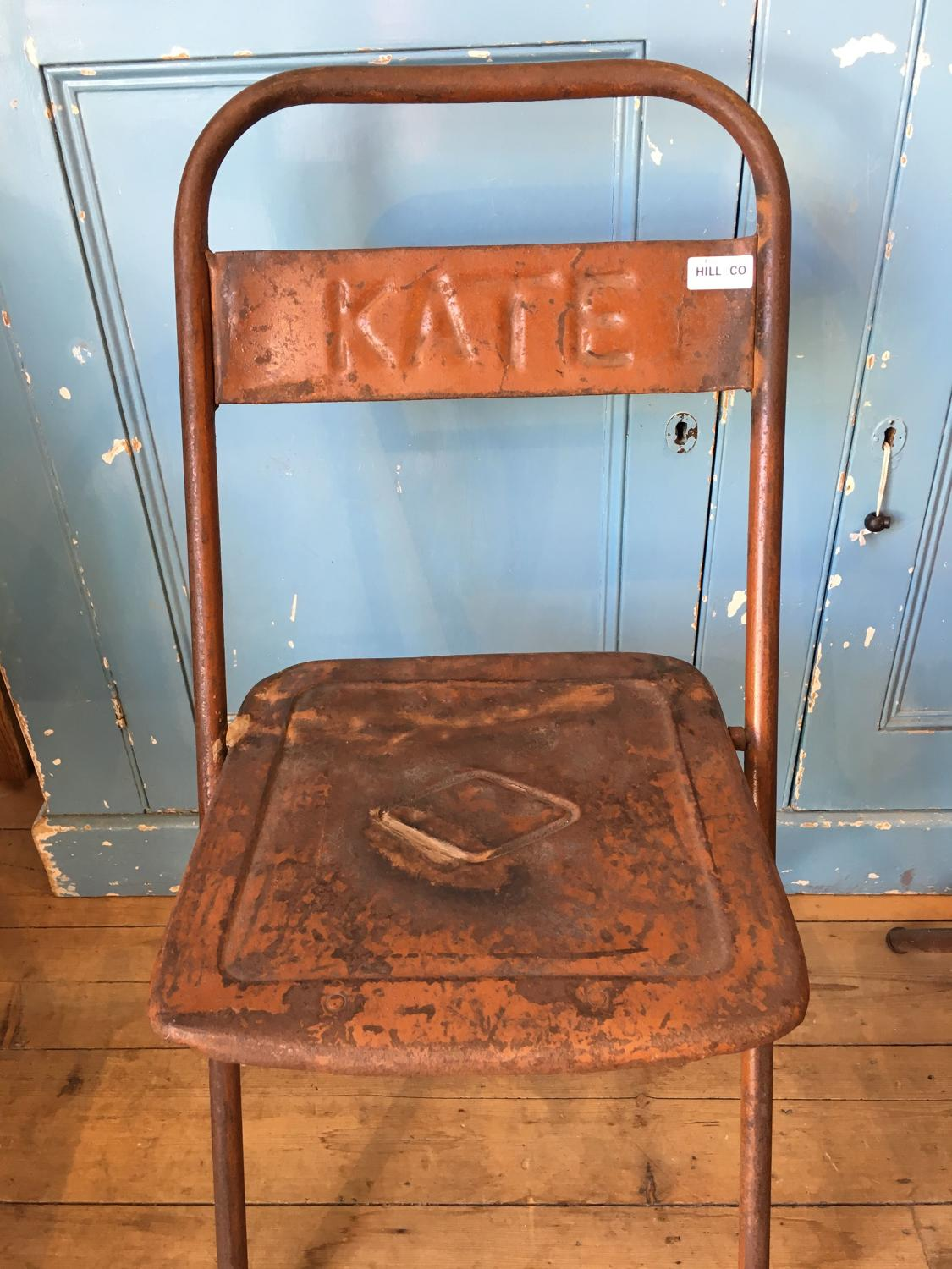 Old metal folding chair - original paint