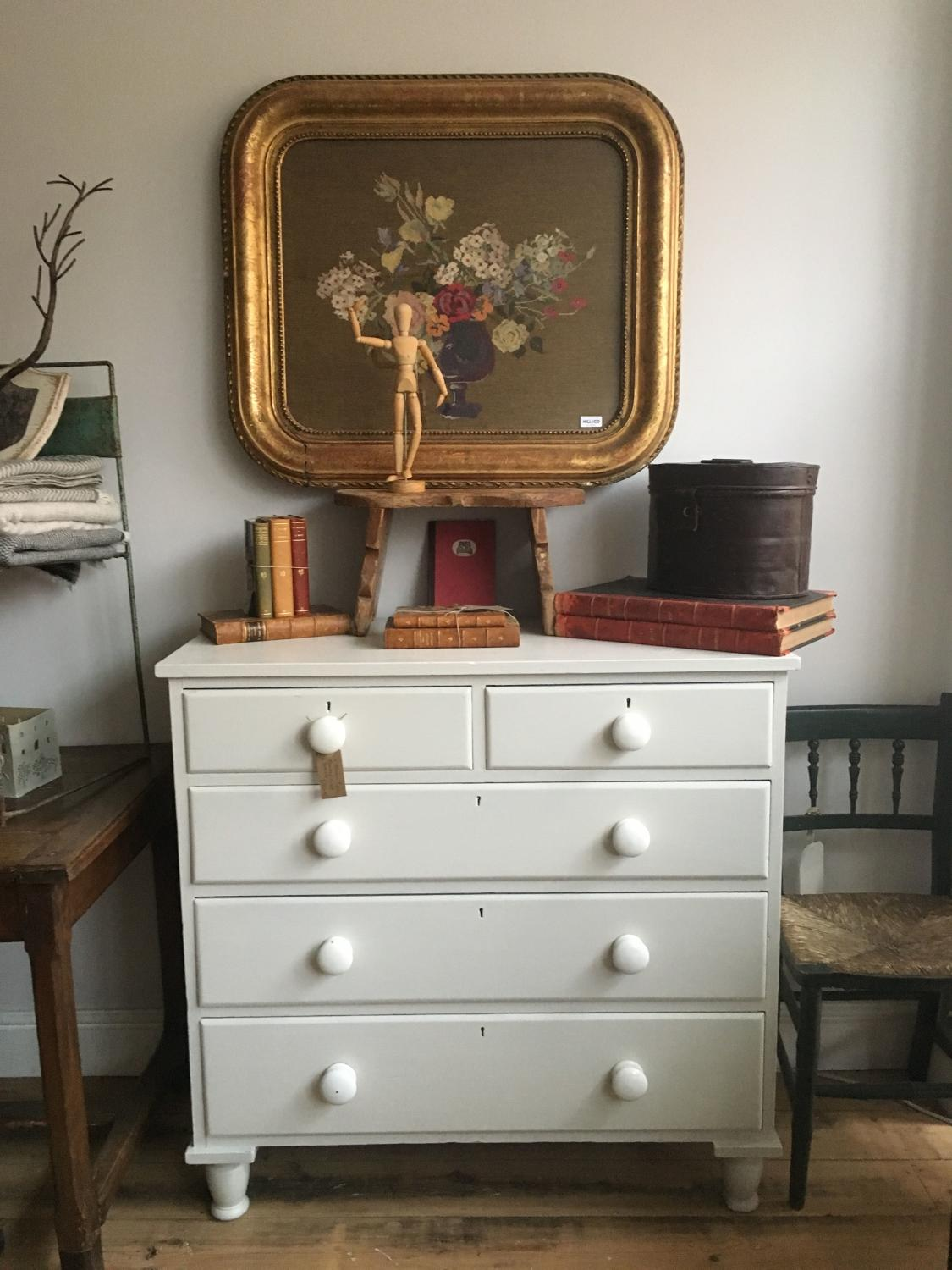 Victorian painted pine Chest of Drawers with original porcelain knobs