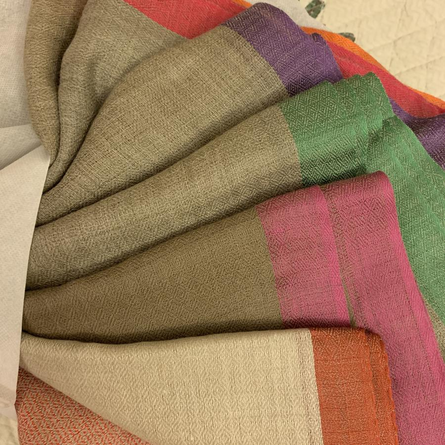 Fine hand woven wool Indian scarves