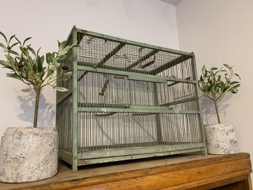 Vintage French birdcage with original blue paint