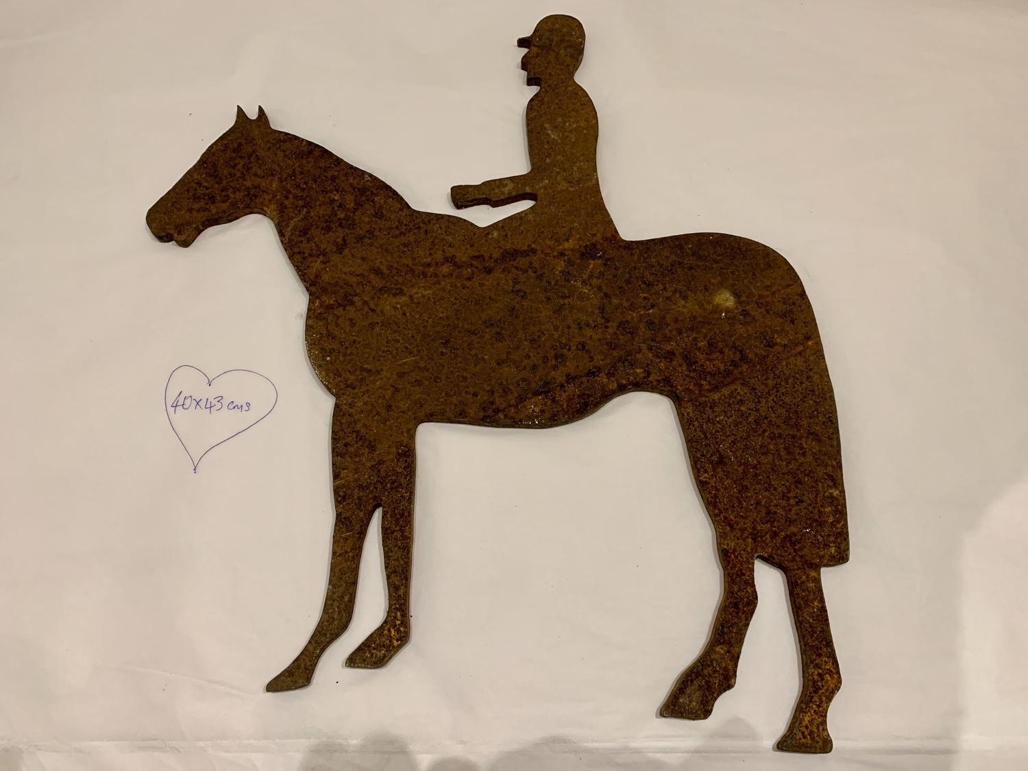 Cast iron horse and rider