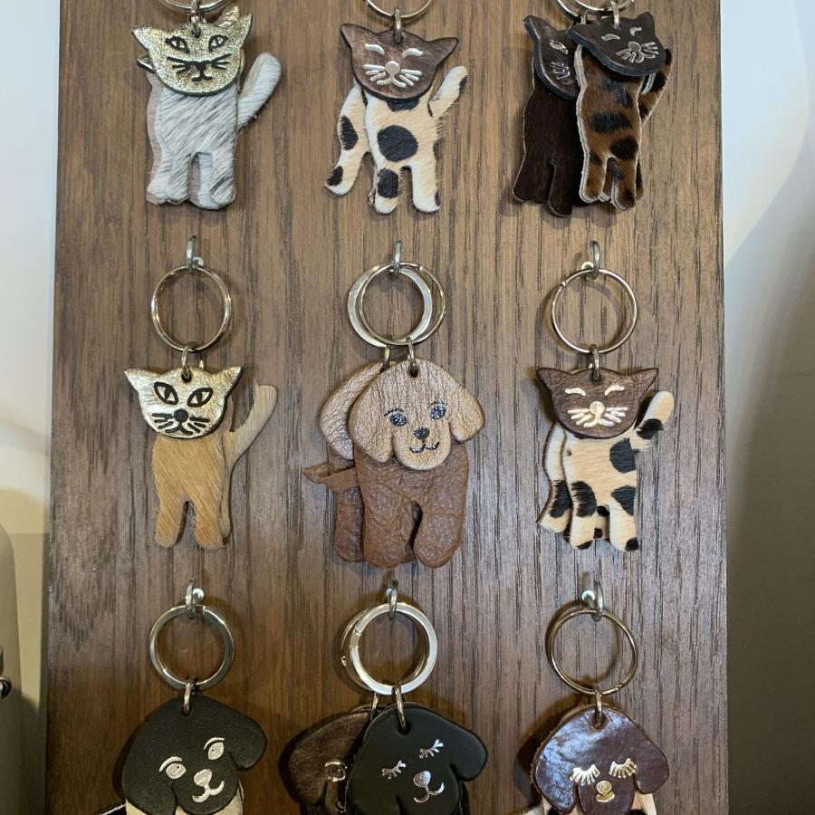 Leather cat and dog keyrings