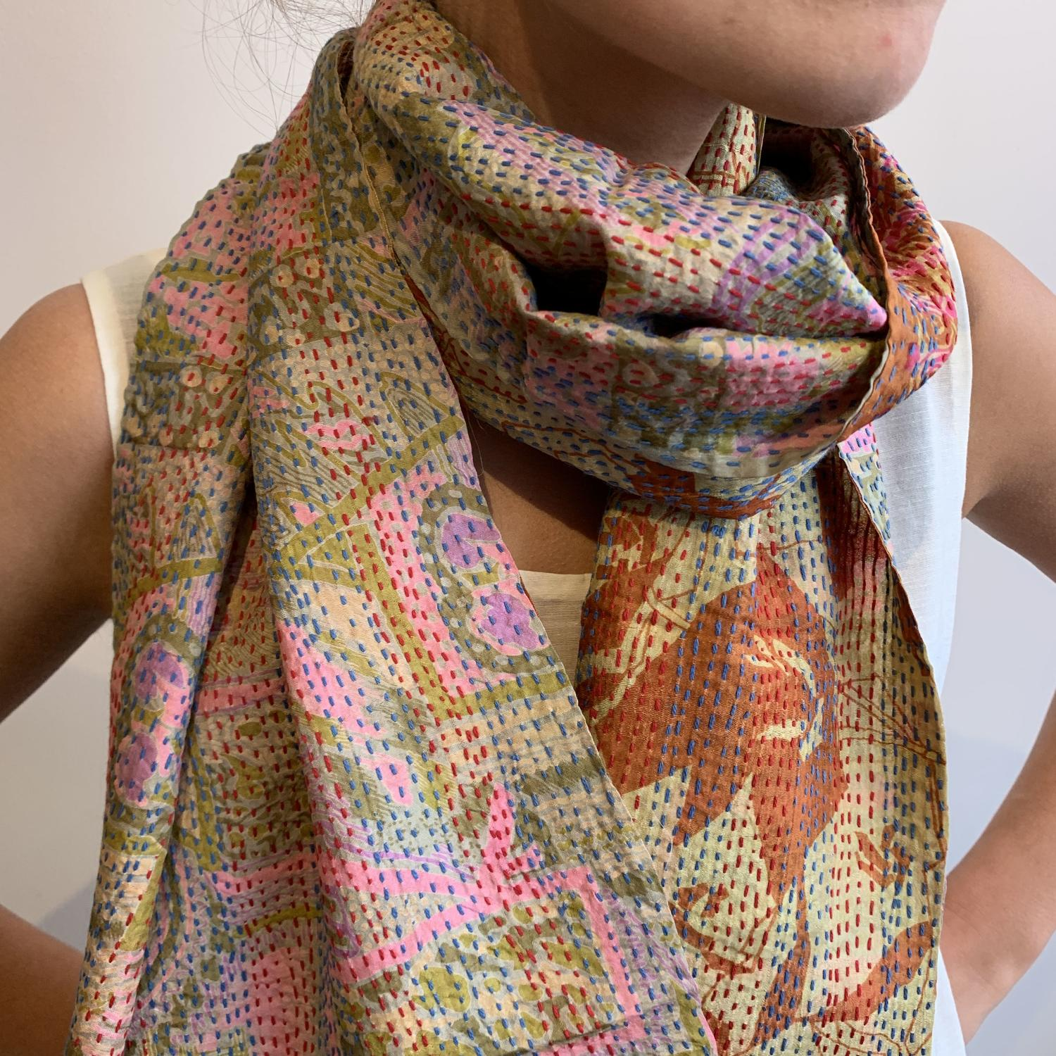 Silk hand stitched scarves
