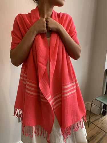 Large neon coloured scarves