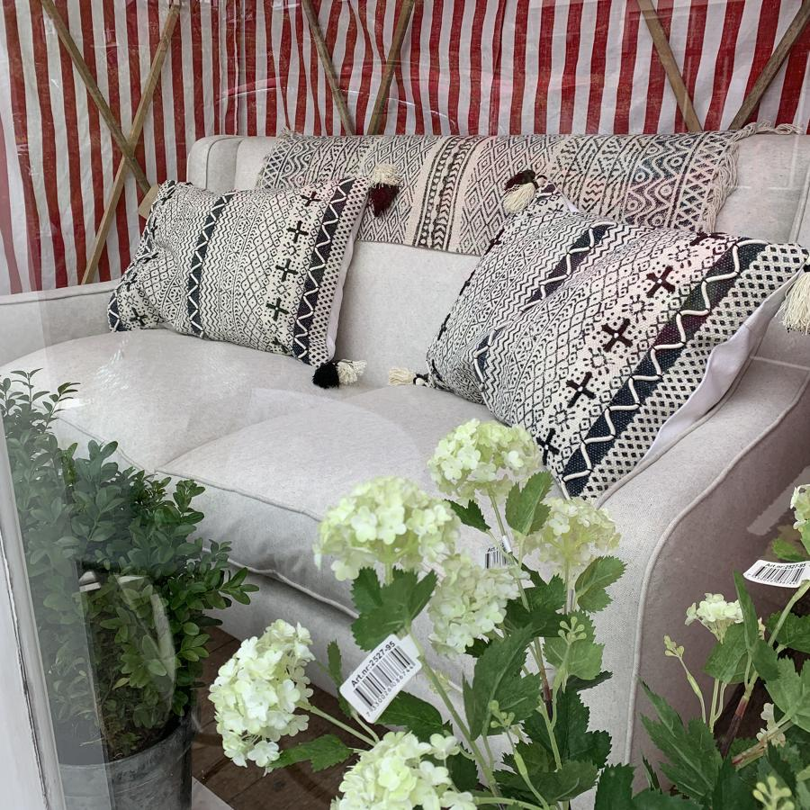 Sofa recovered in natural linen