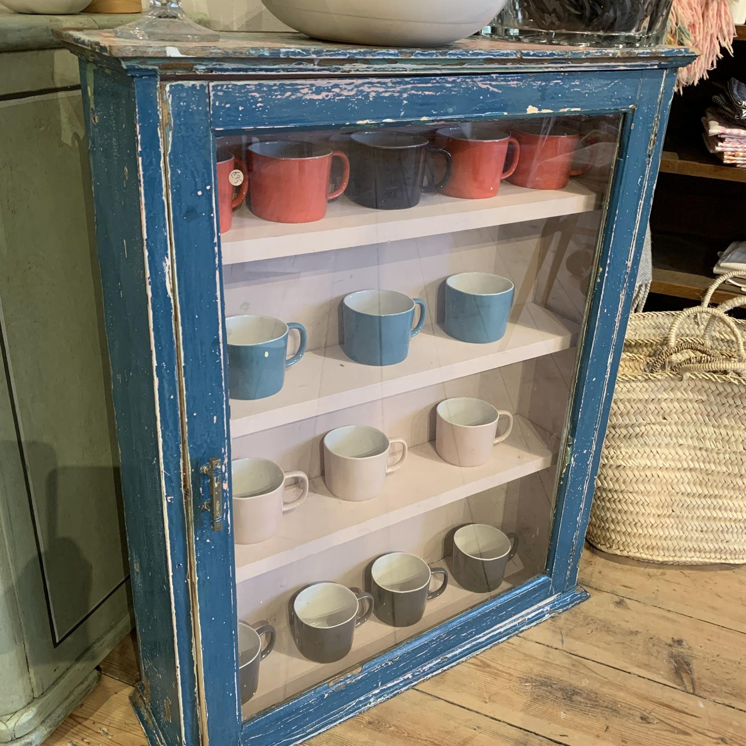 Glazed cupboard with originalnpaint