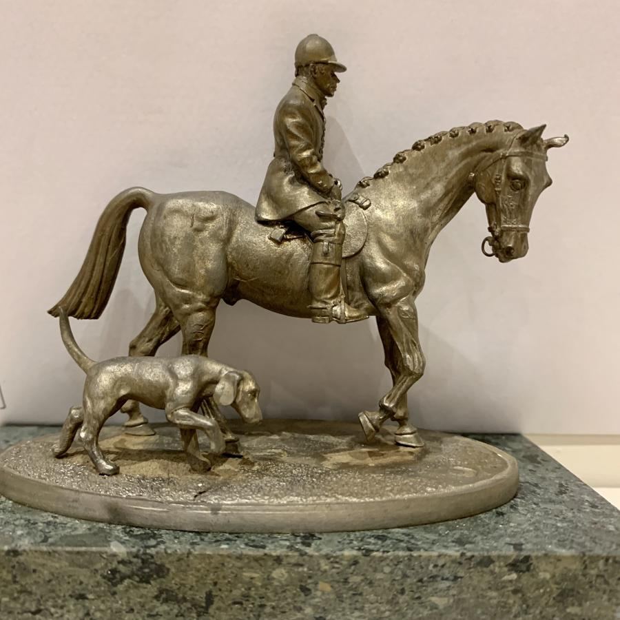Spelter figure of Huntsman and dog