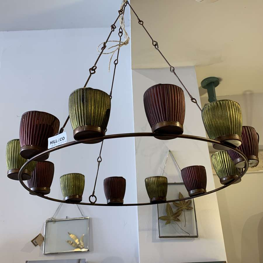 Rustic hanging candle chandelier