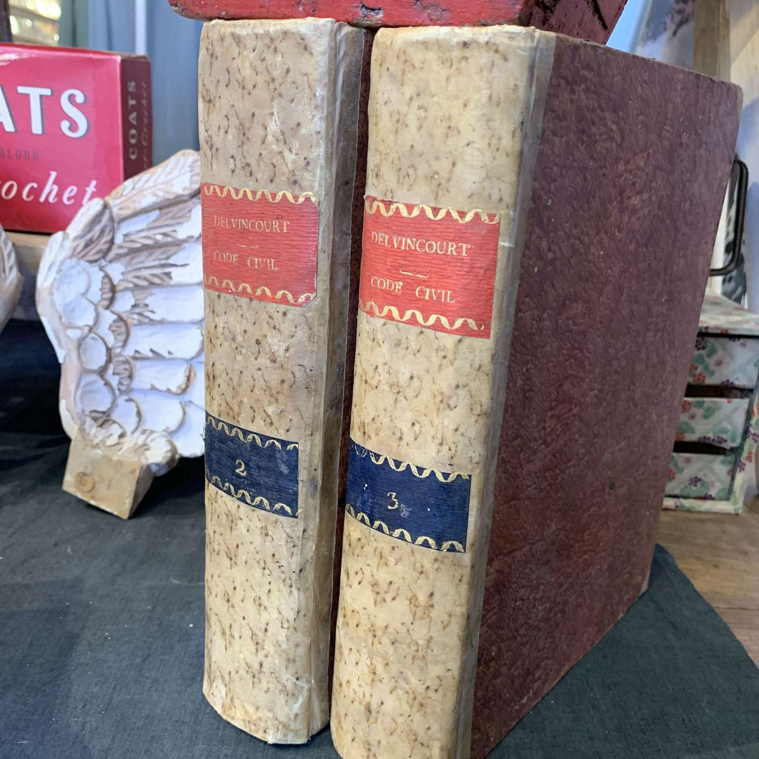 Two large decorative French books