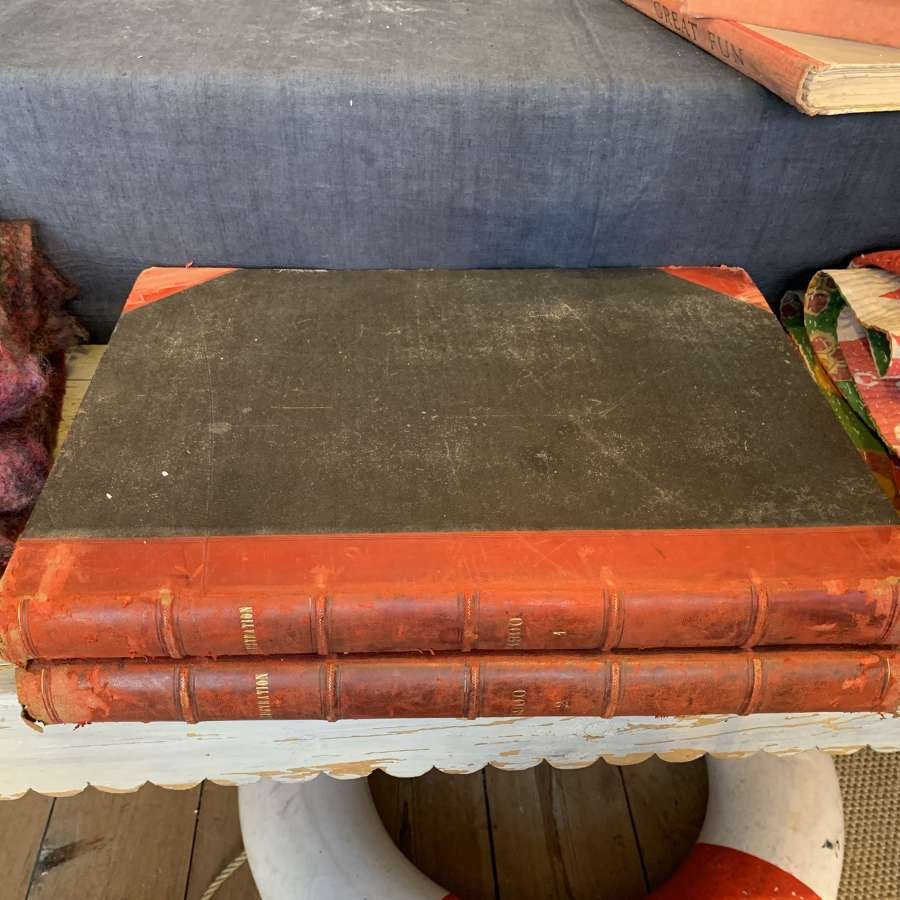 Two large leather bound French books