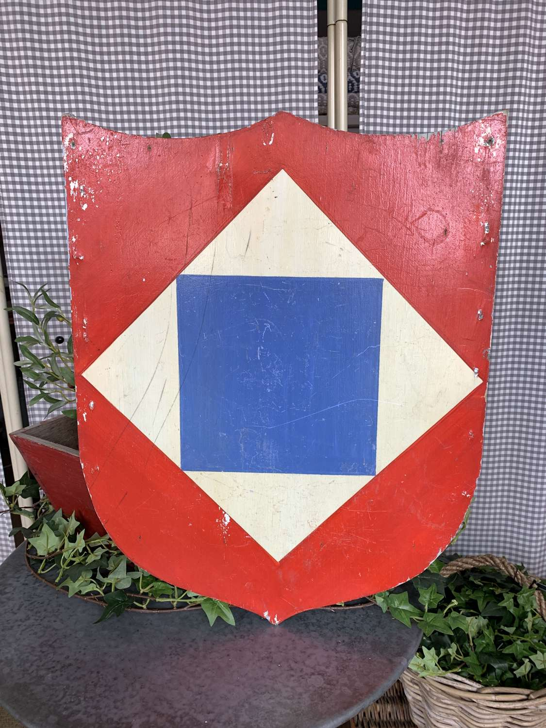 Two large wooden French shields