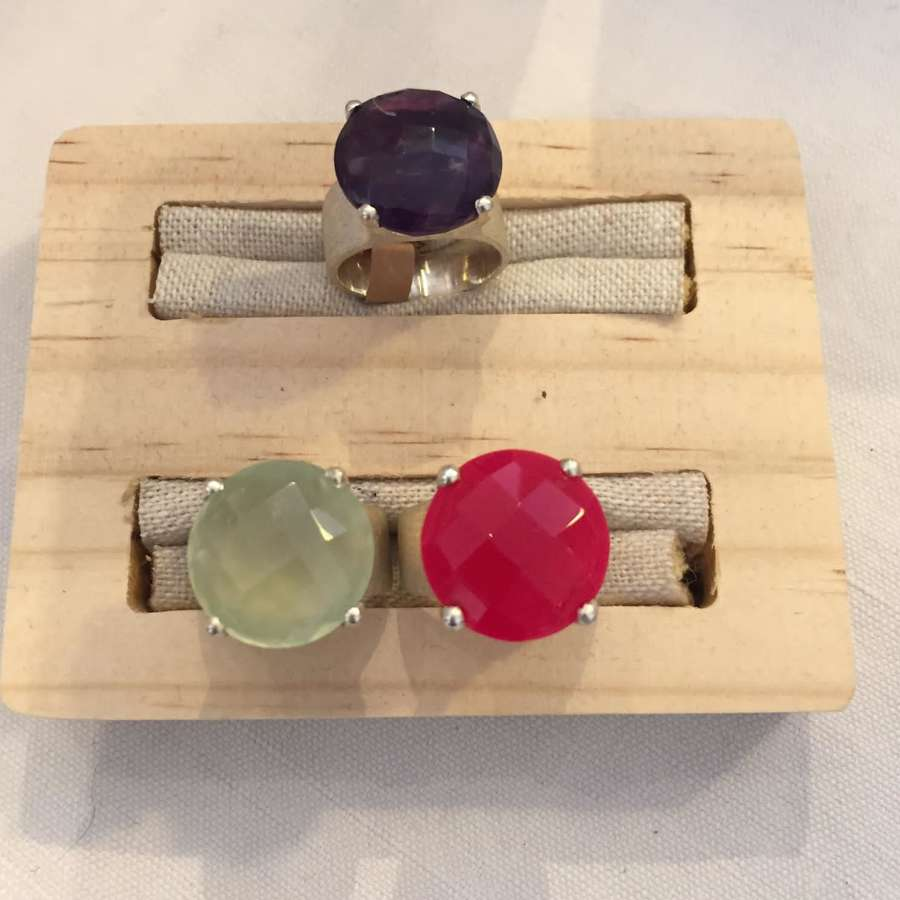 Solid silver statement rings with semi precious stones