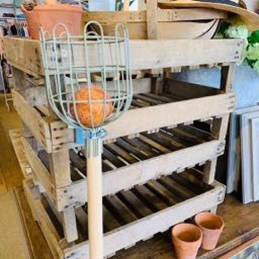 Vintage wooden greenhouse racks