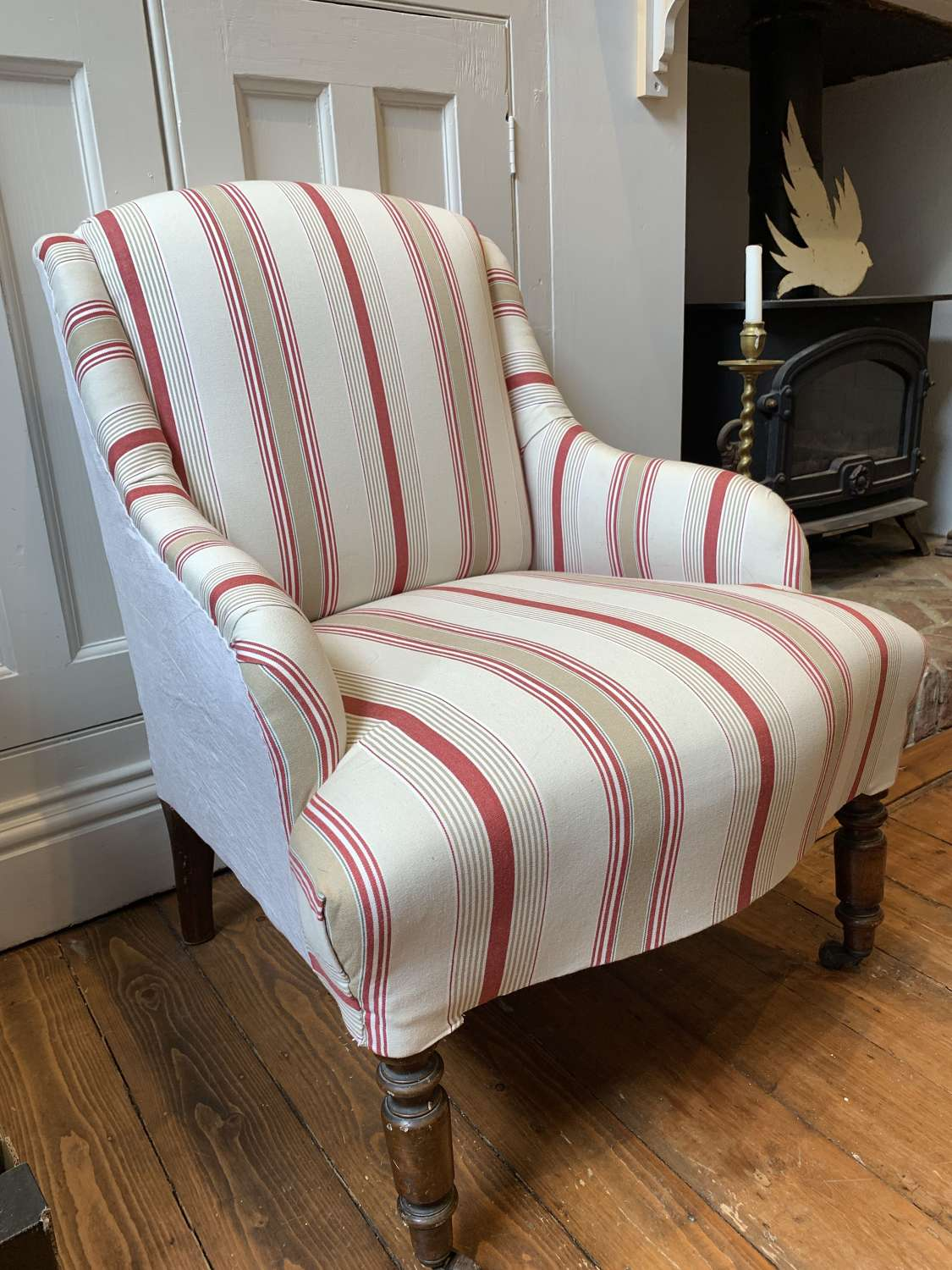 Vintage armchair recovered in ticking and antique linen