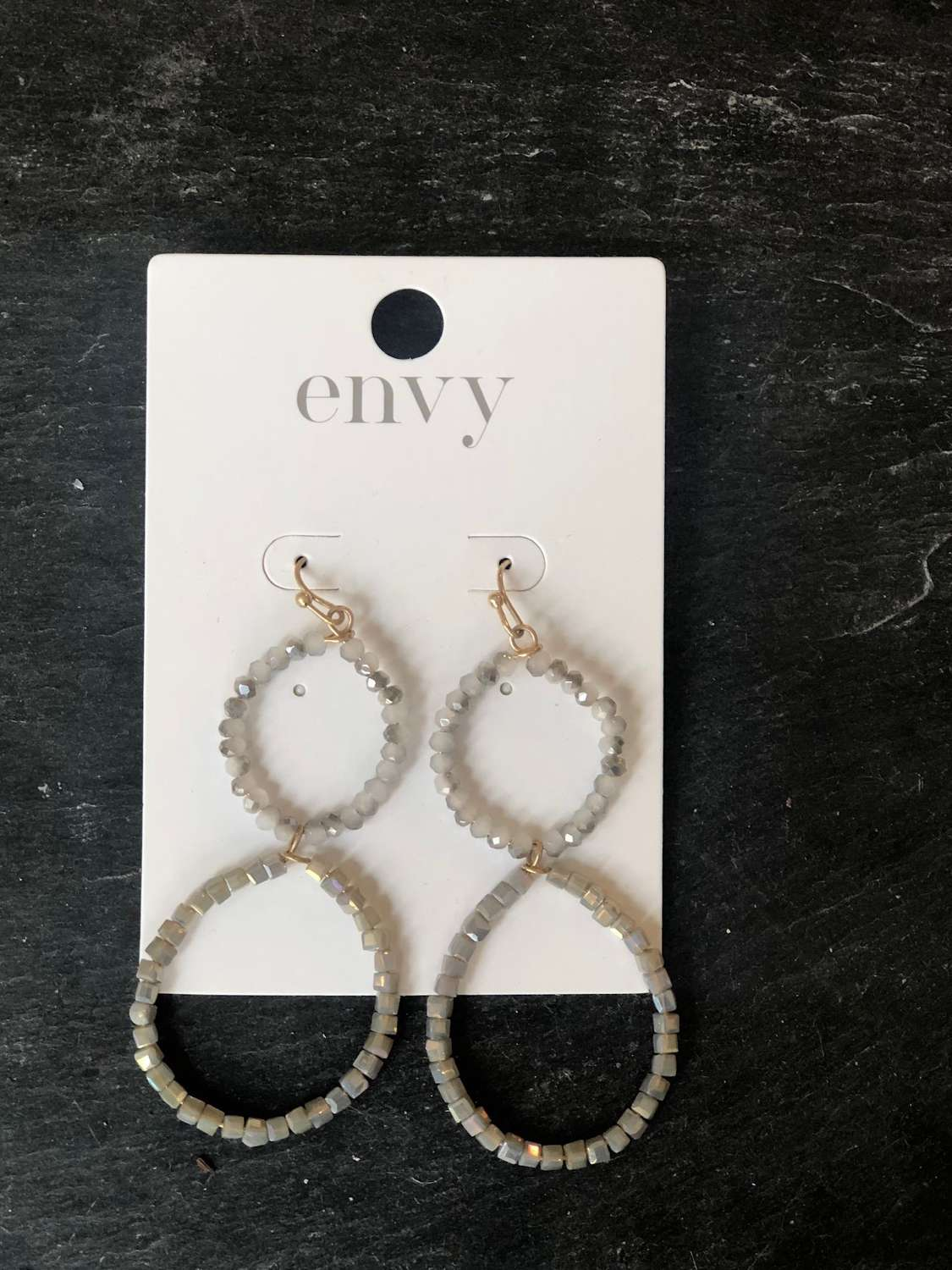 Grey double linked hoop beaded earrings