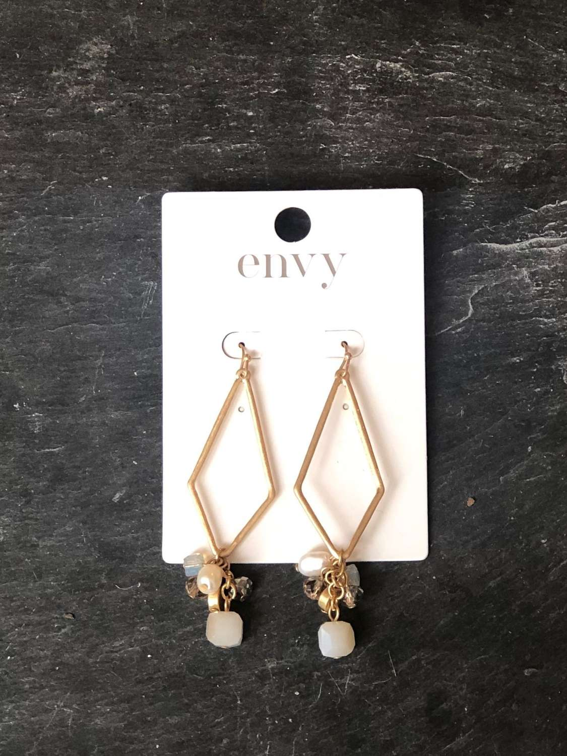 Gold drop diamond shaped earrings with cluster bead pendant