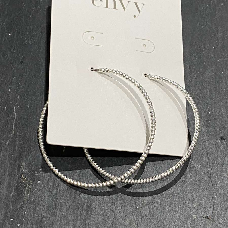 Silver fine woven twist metal hoops with clip back