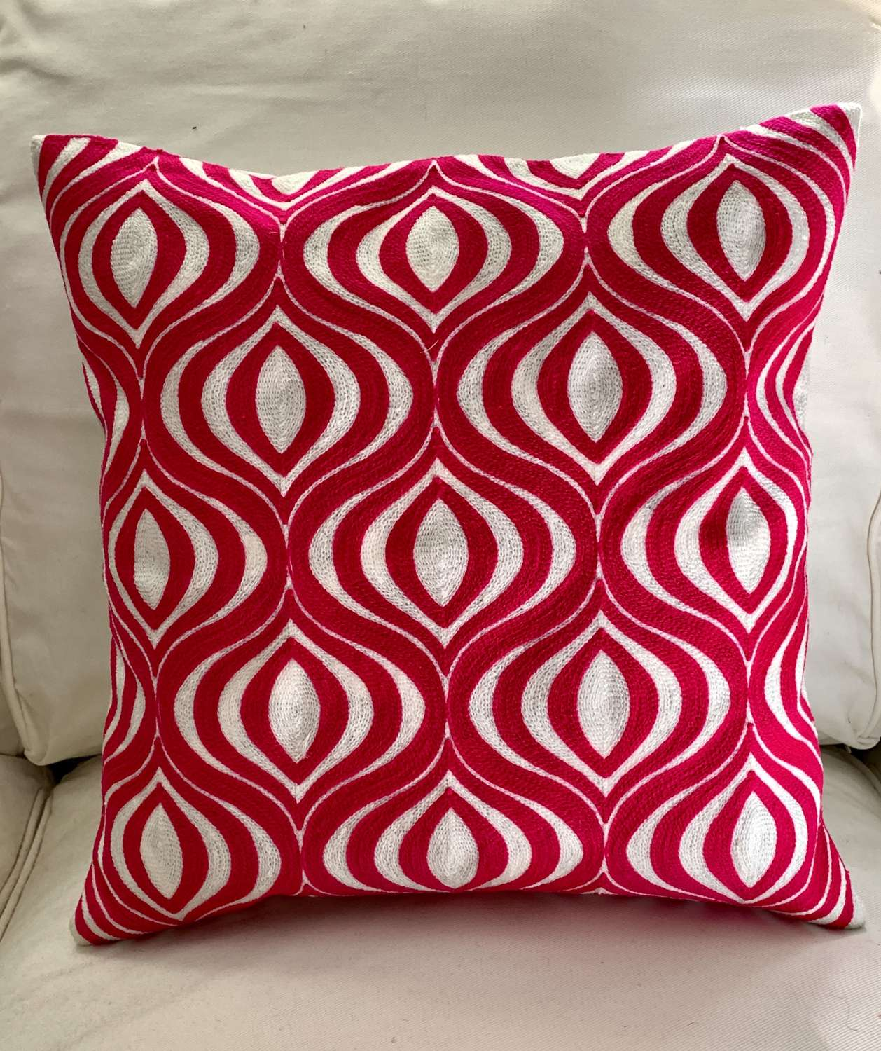 Pink Crewel work cushions with feather pad