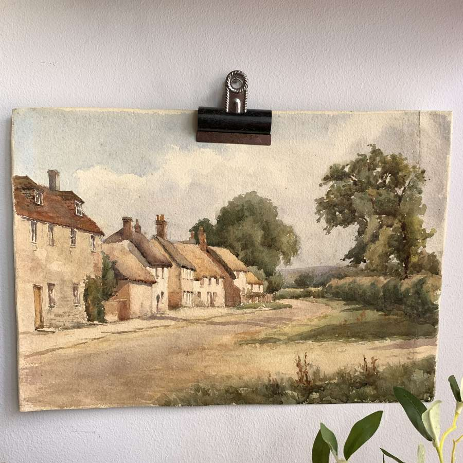 Vintage watercolour village scene