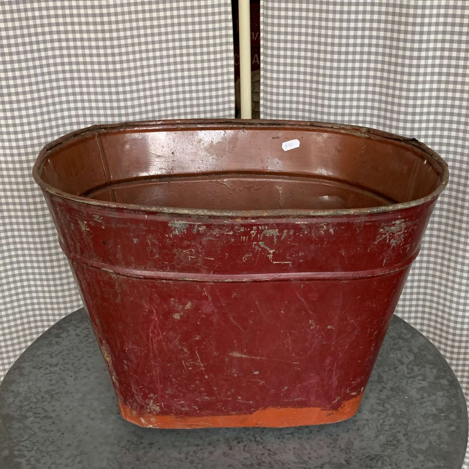 Vintage red painted planter