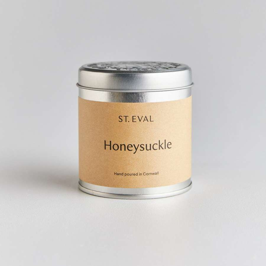 Honeysuckle scented tin candle
