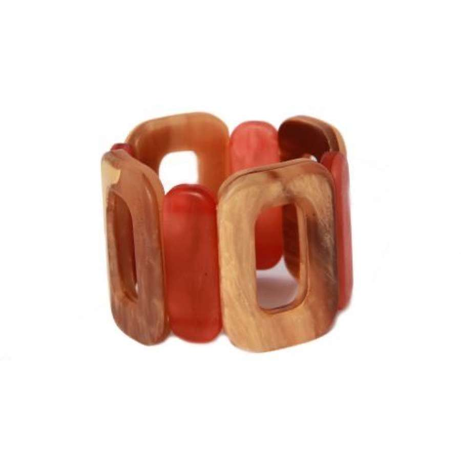 Stretch bracelet - Red & Beige