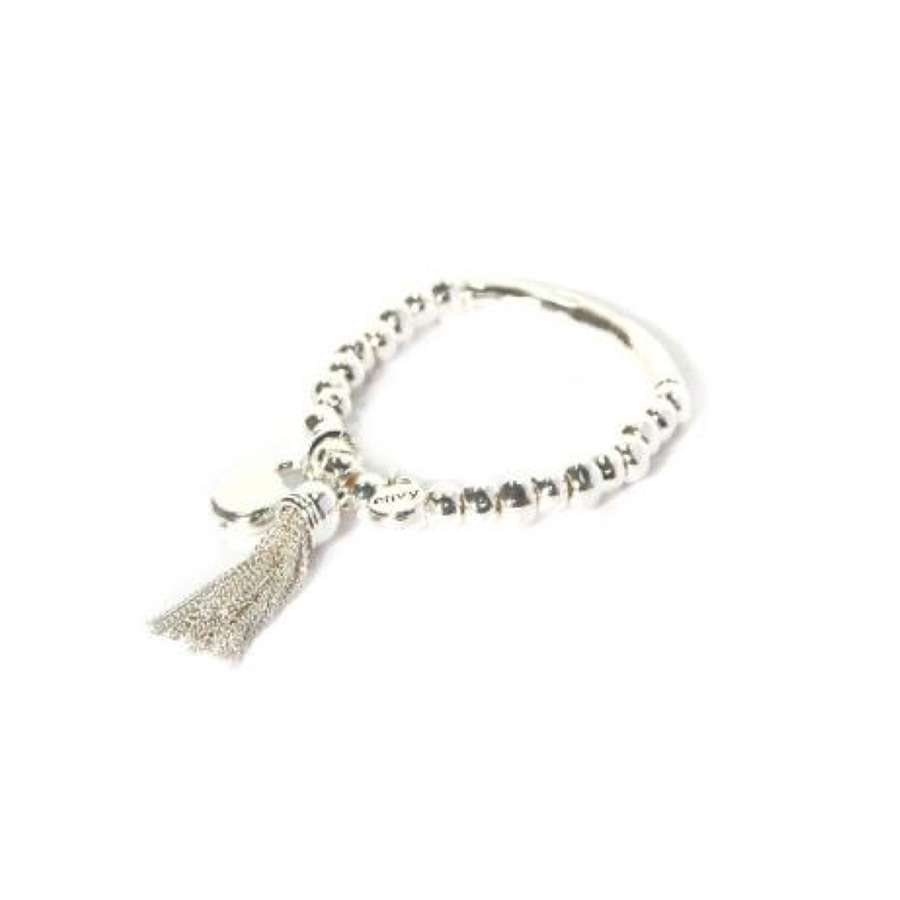 Silver stretch bracelet with chain tassel