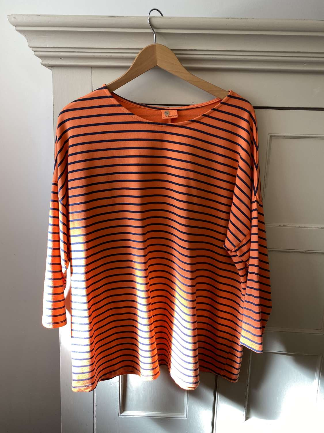 Orange & navy stripe cotton top