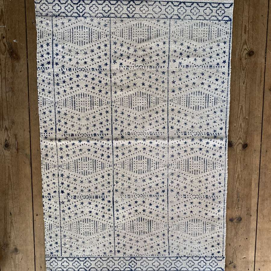 Hand block printed cotton rug