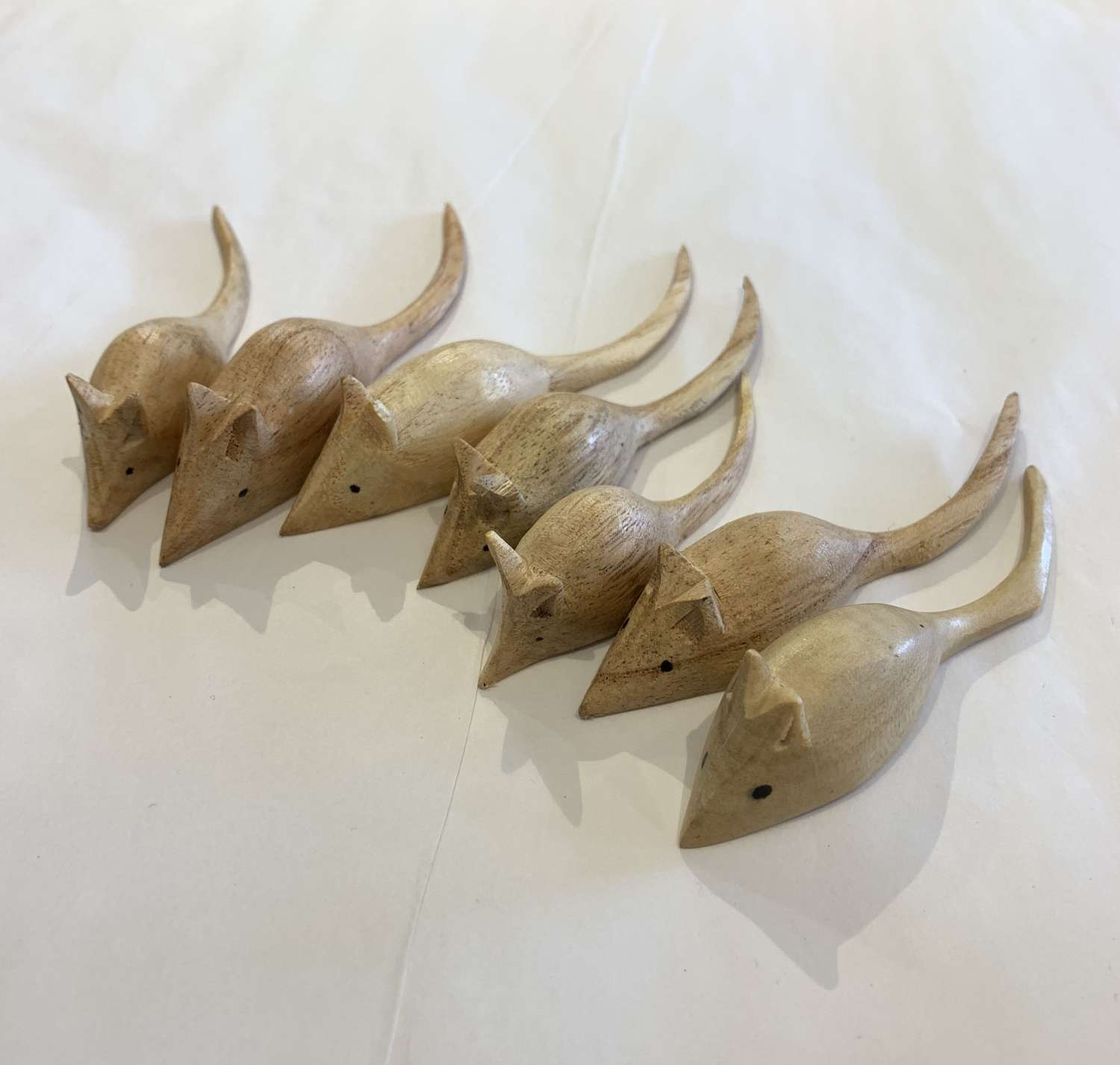 Hand carved wooden mice
