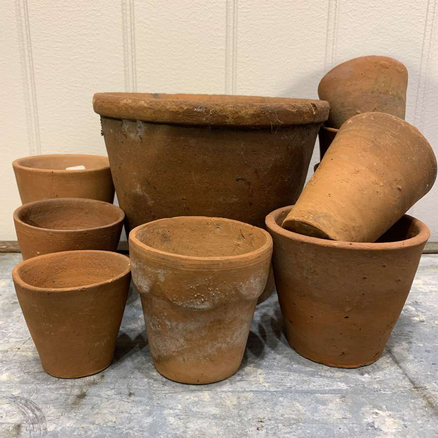 Vintage hand thrown clay flowerpots