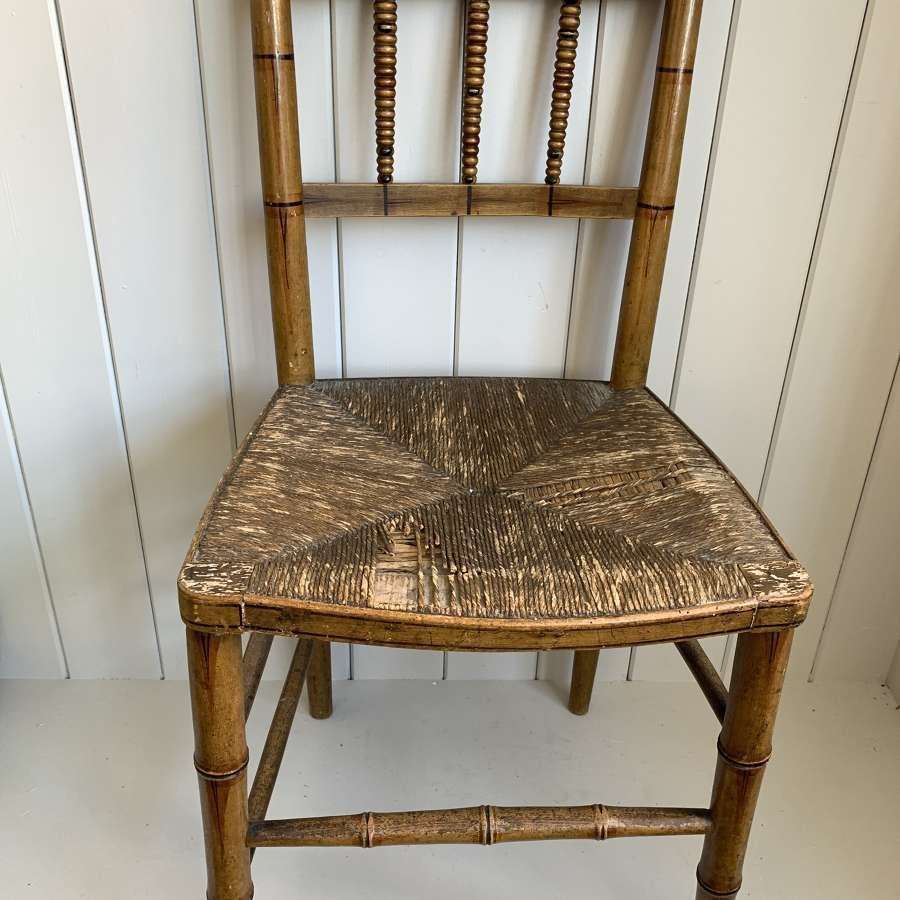 Georgian faux bamboo chair with original paint