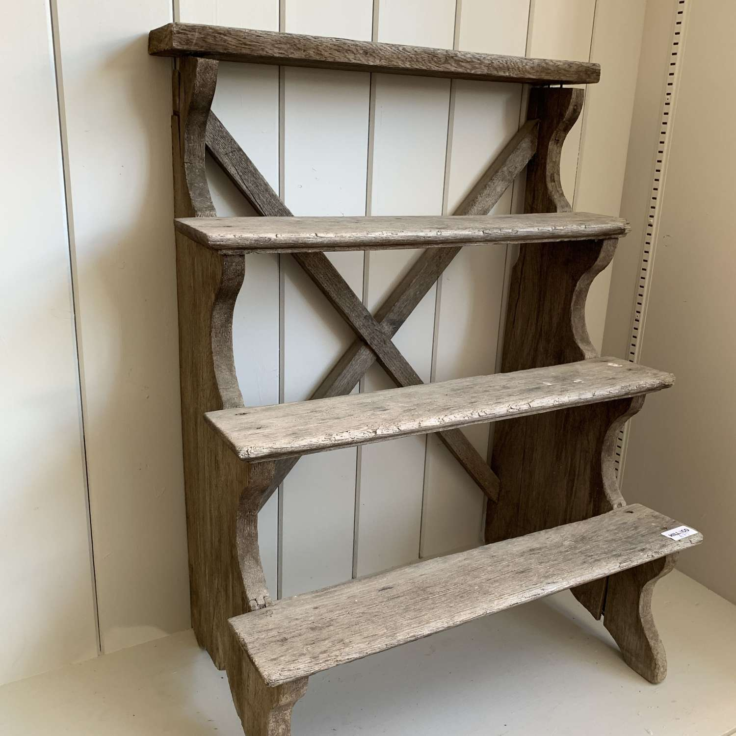 Rustic wooden display shelves