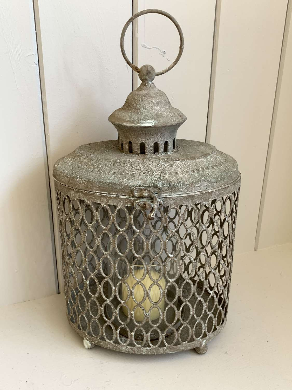 Rustic lantern with glass candleholder
