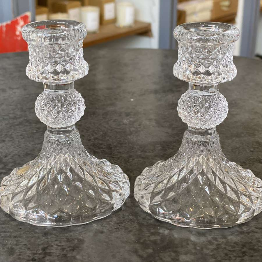 Glass dinner candle holders