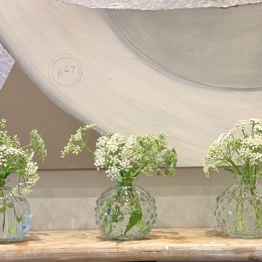 Recycled glass bud vases