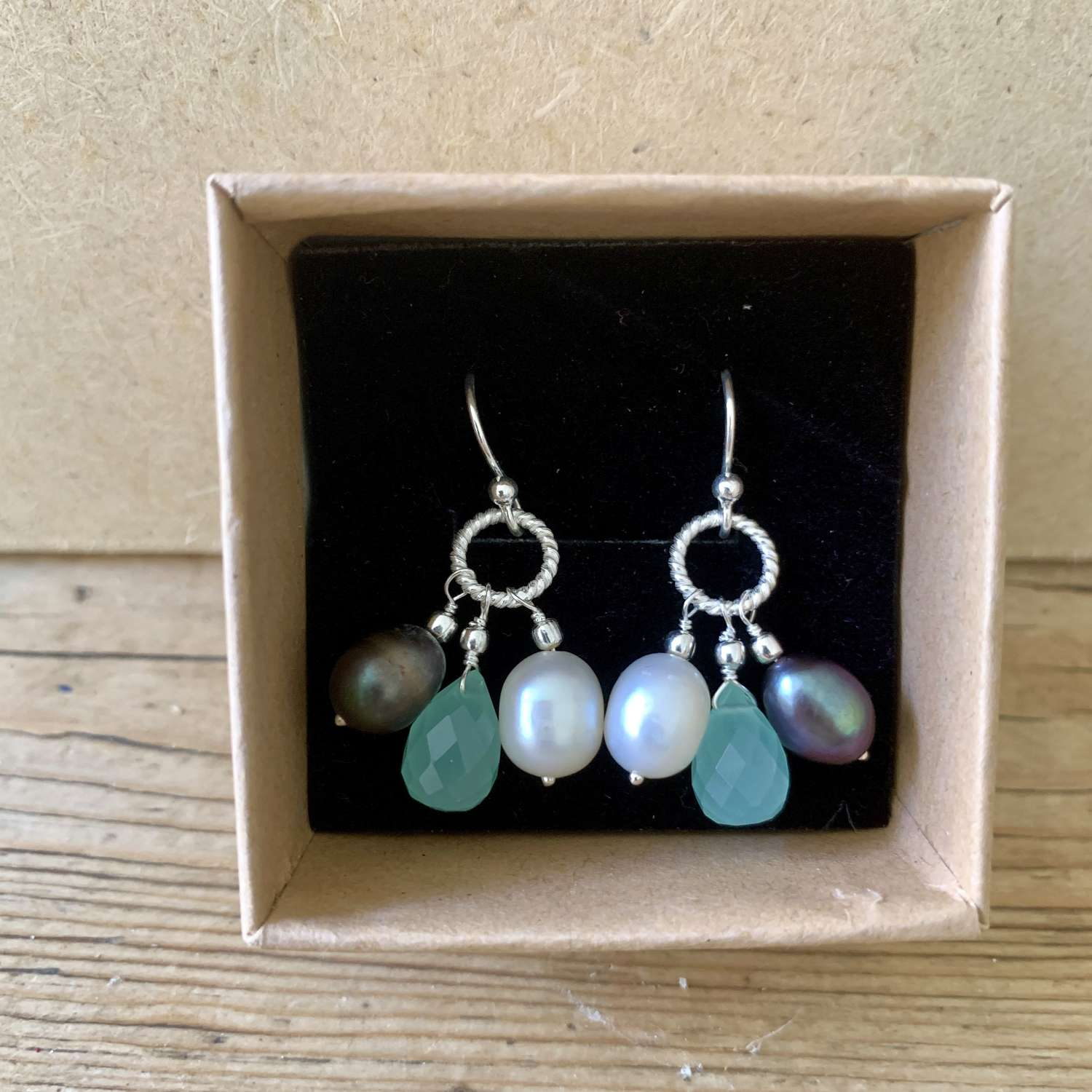 Silver earrings with pearls and semi-precious stones