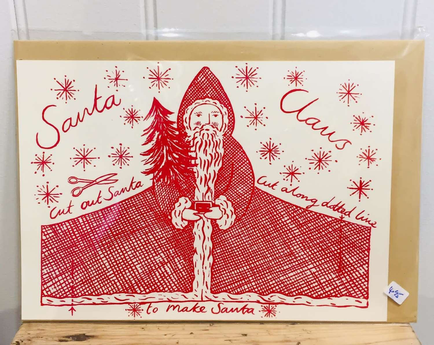 Father Christmas tree topper card decoration (cut-out)