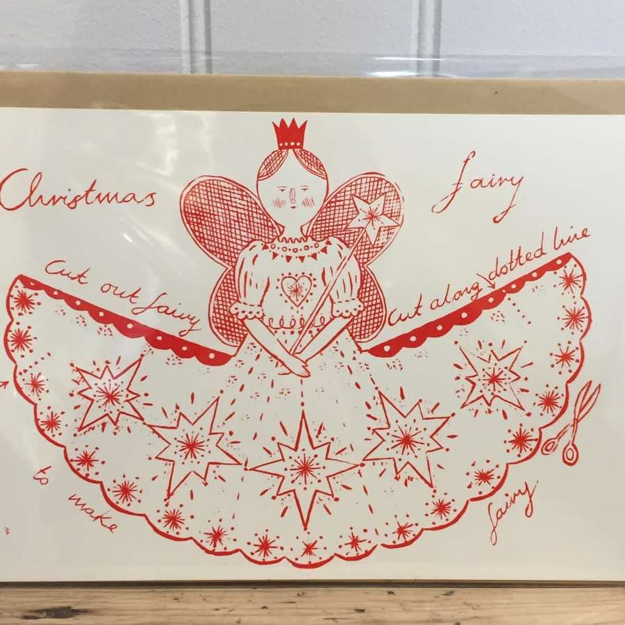 Fairy Christmas tree topper card decoration (cut-out)