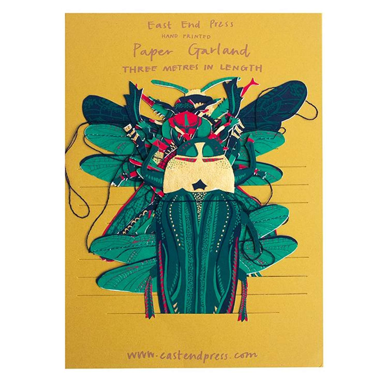 Hand Printed Paper Garland Insects