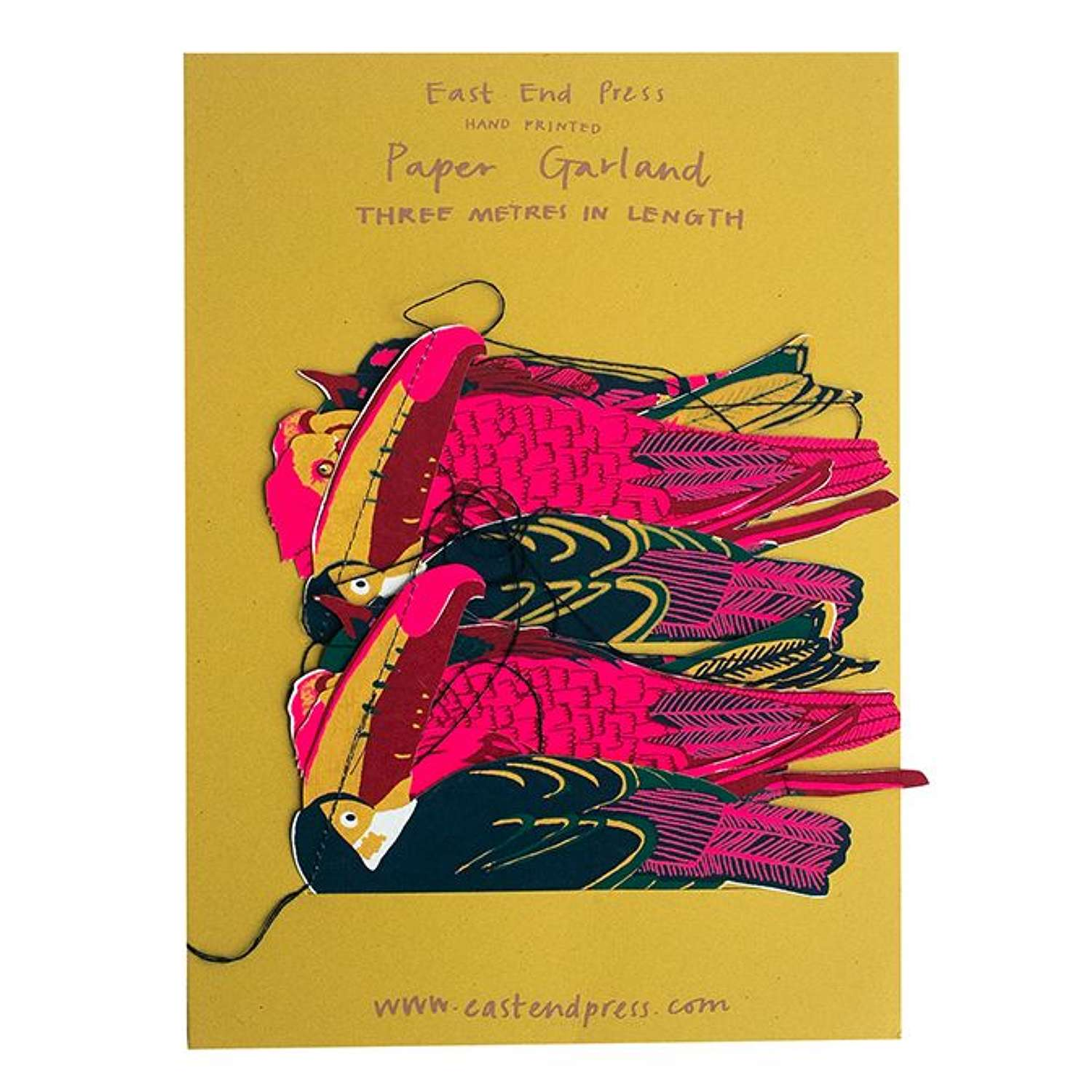 Hand Printed Paper Garland Tropical Birds