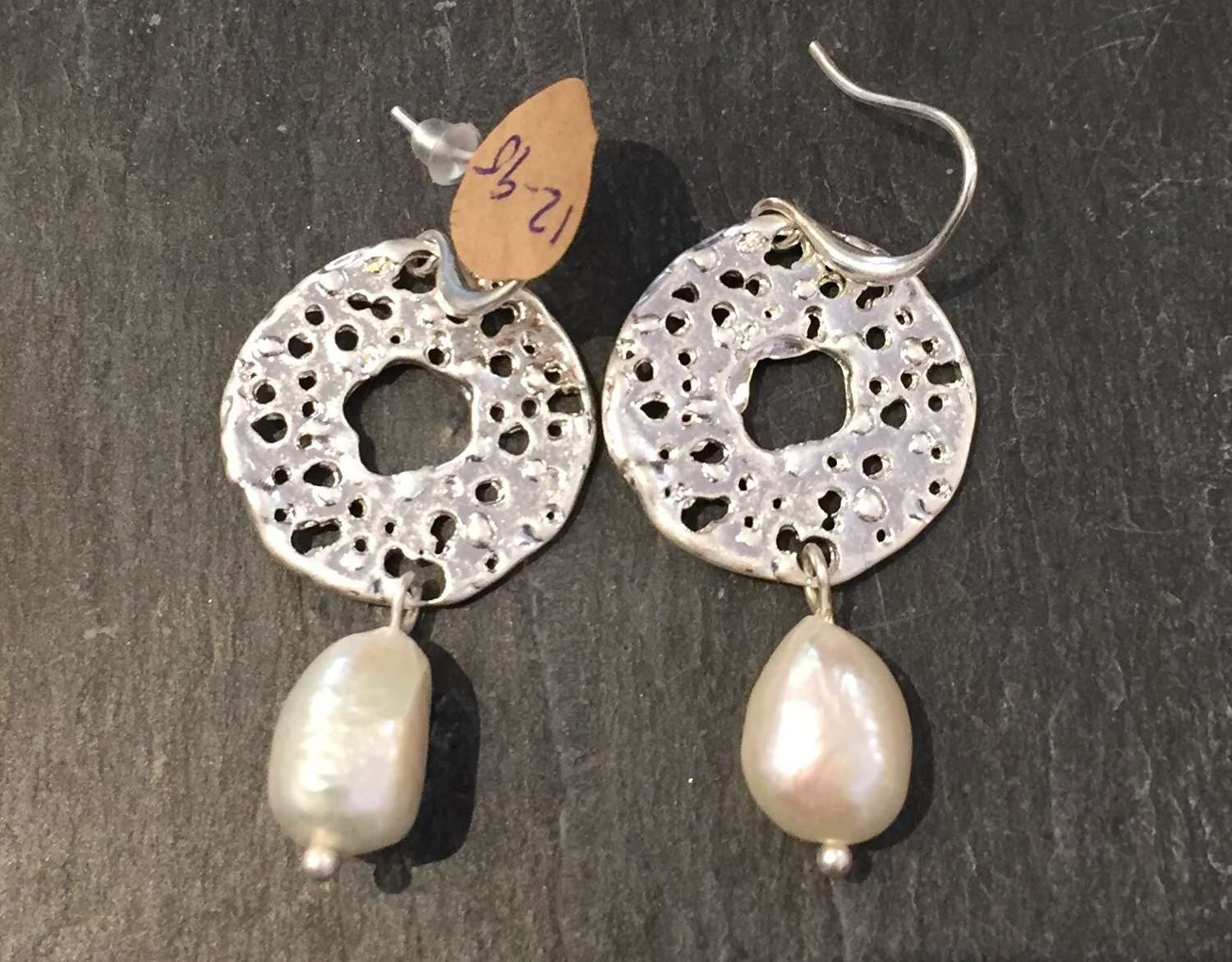 Envy silver disc and pearl pendant earrings