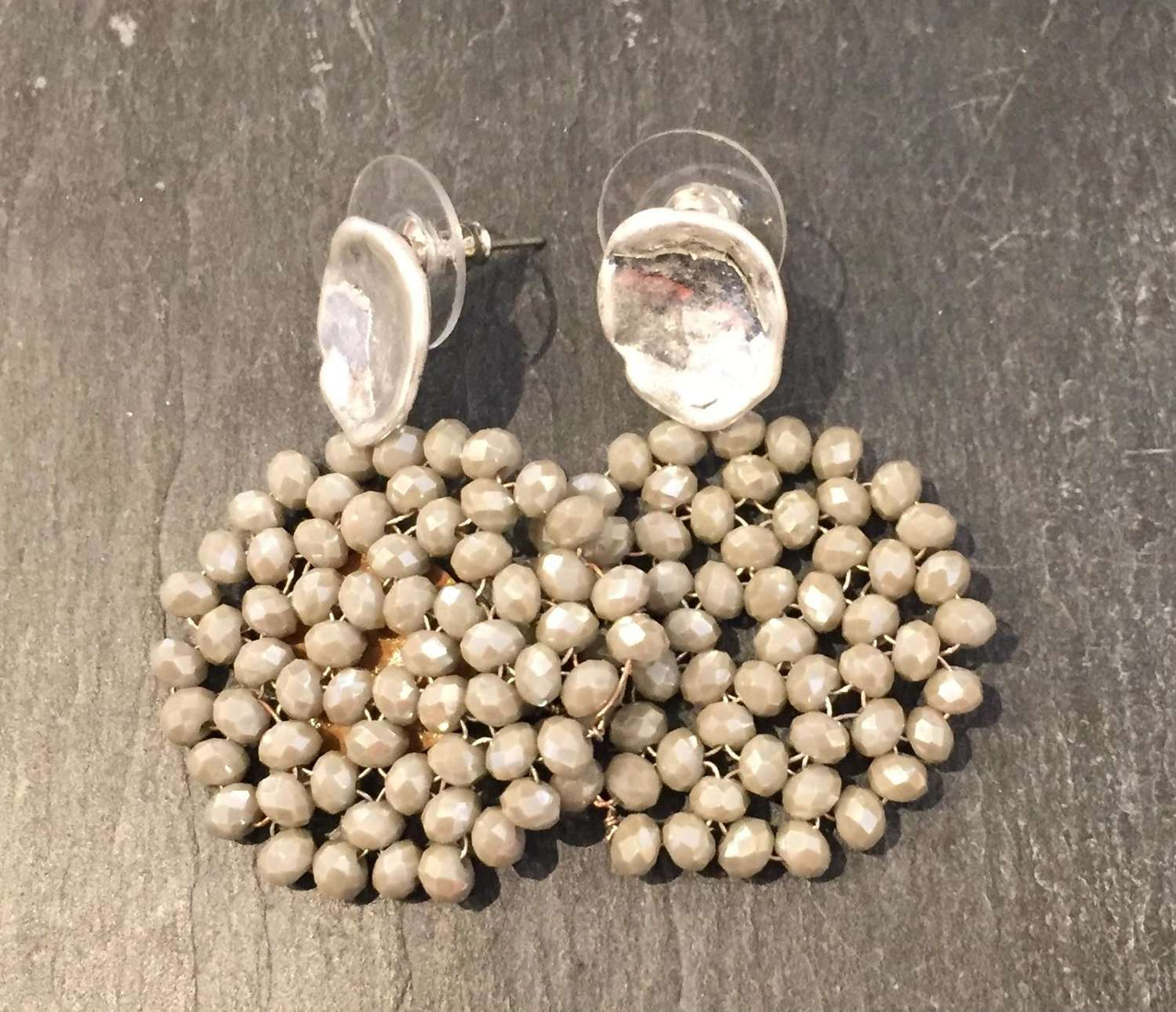 Envy silver and grey beaded earrings
