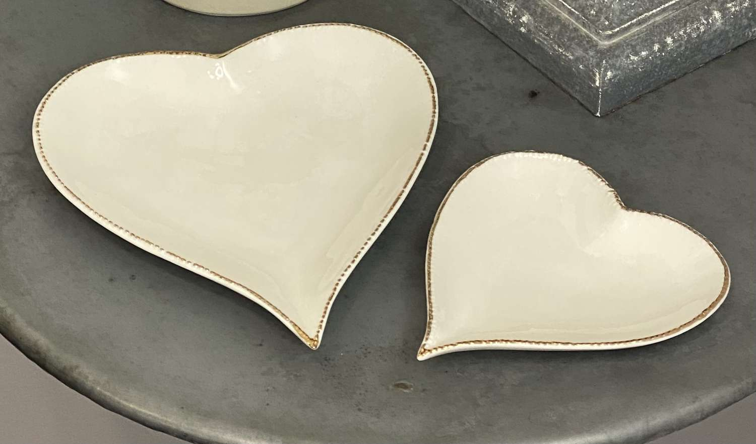 Heart plate/dish with gold edge - Large & Small