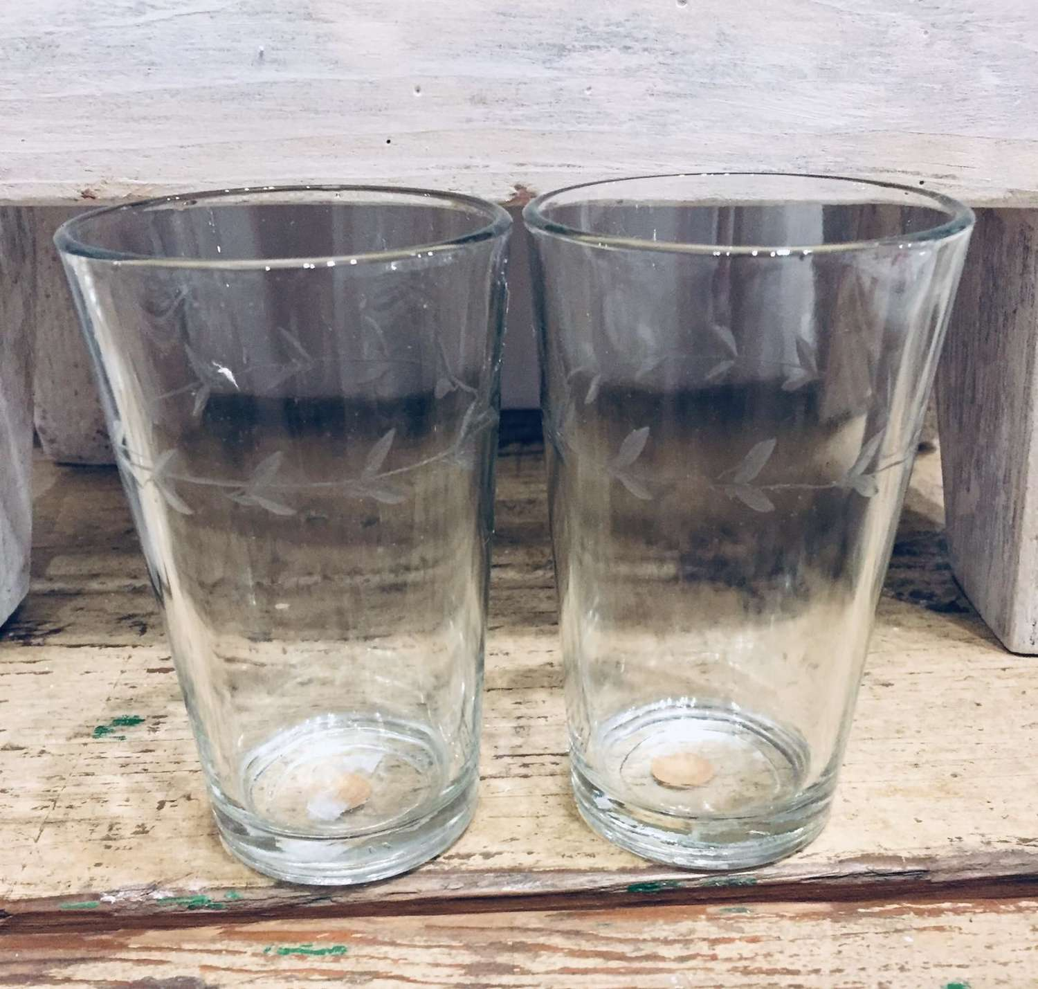 Small water glasses - etched leaf design