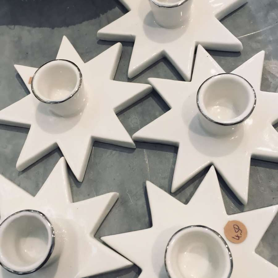 White Star candle holders