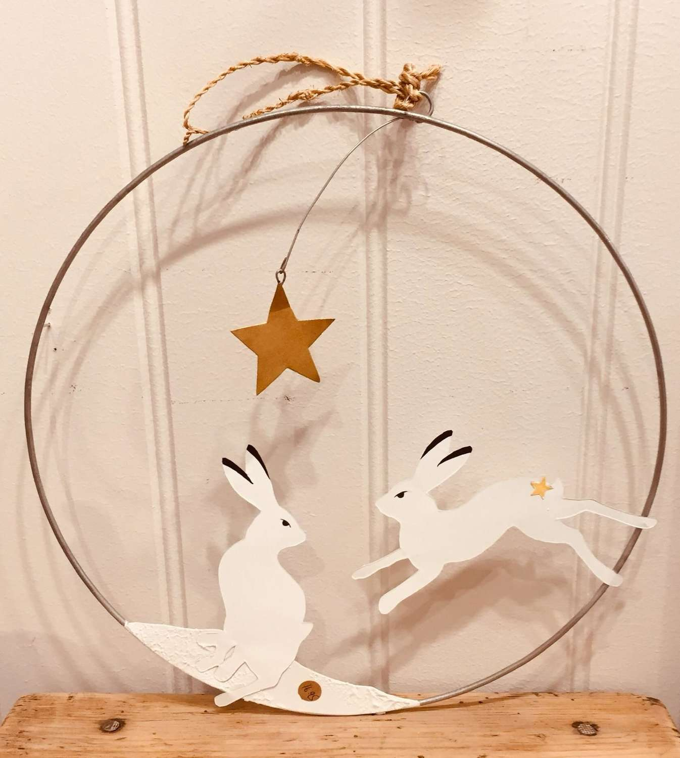 Large Hare hanging hoop Decoration